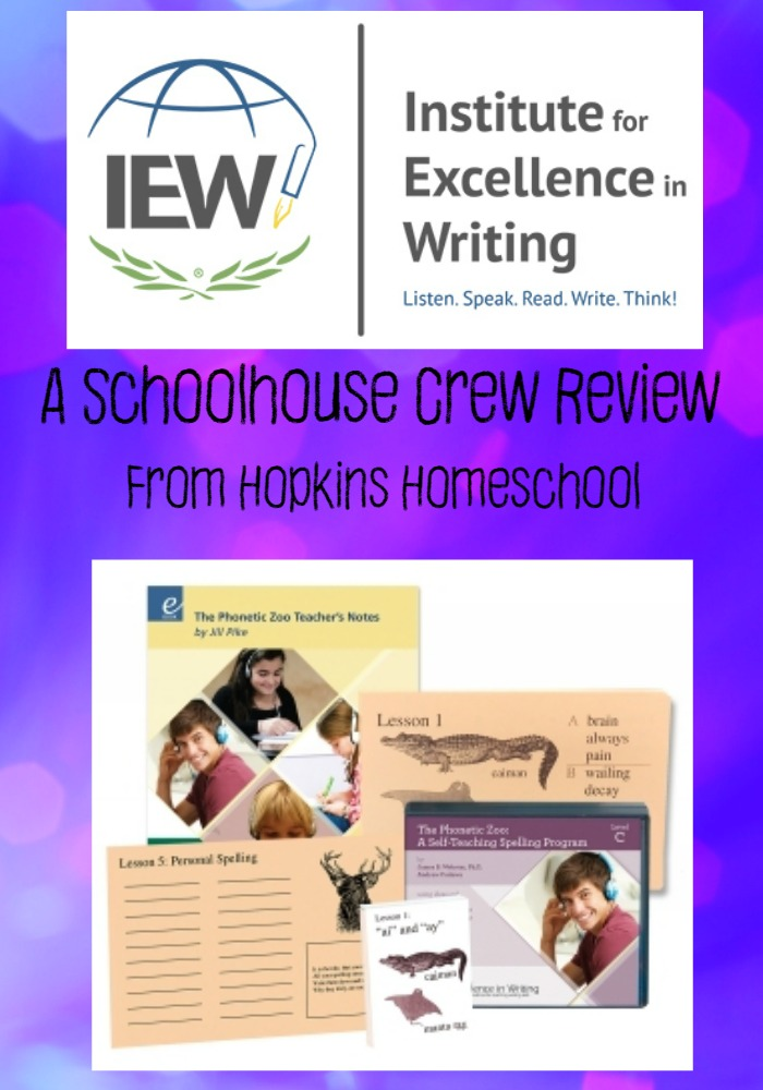 IEW Phonetic Zoo Spelling ~ A Schoolhouse Crew Review