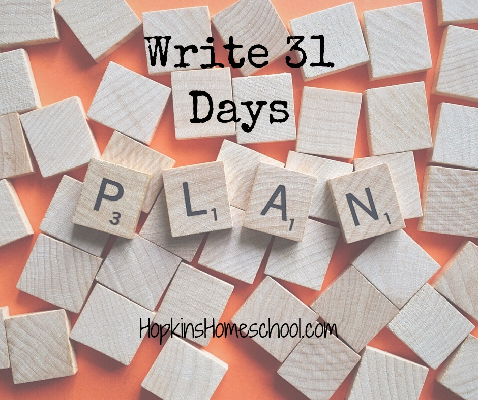 Plan – Write 31 Days